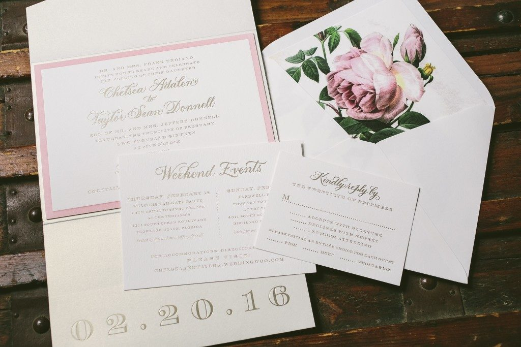 La Vie en Rose inspired wedding invitations | Bella Figura