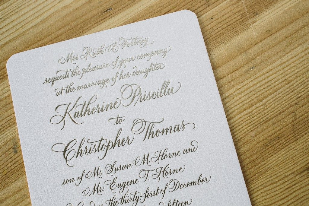 foil stamped hand calligraphy wedding invitations | Bella Figura