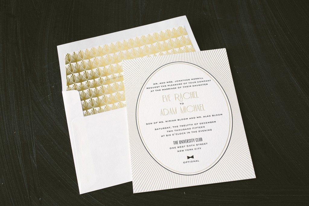 letterpress gold foil art deco wedding invitations bella figura
