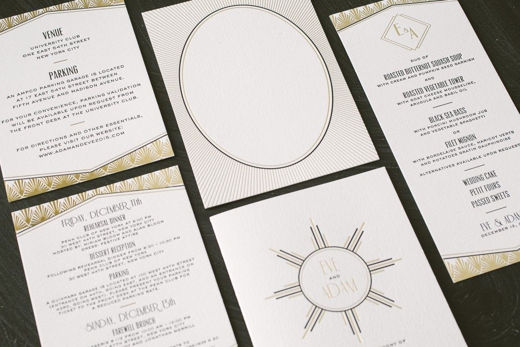 letterpress + gold foil art deco wedding invitations | Bella Figura