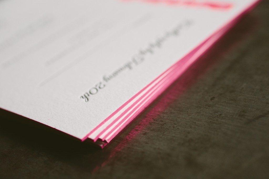 Letterpress neon Bat Mitzvah invitations | Bella Figura