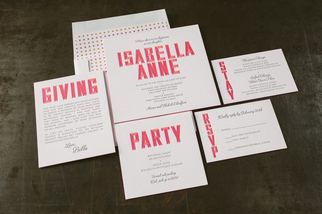 Letterpress neon Bat Mitzvah invitations | Bella Figura