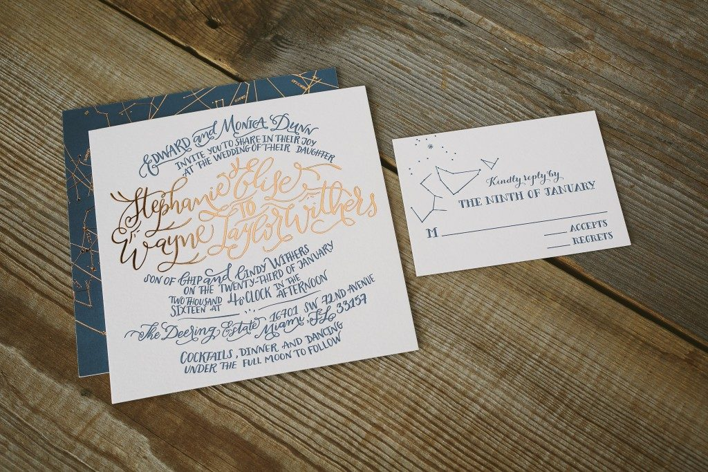 copper + navy letterpress constellation wedding invitations | Bella Figura