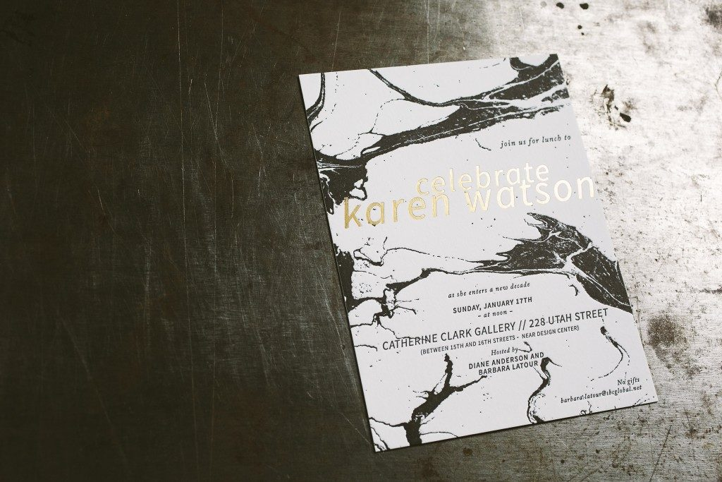 letterpress + foil stamped marble birthday invitations | Bella Figura