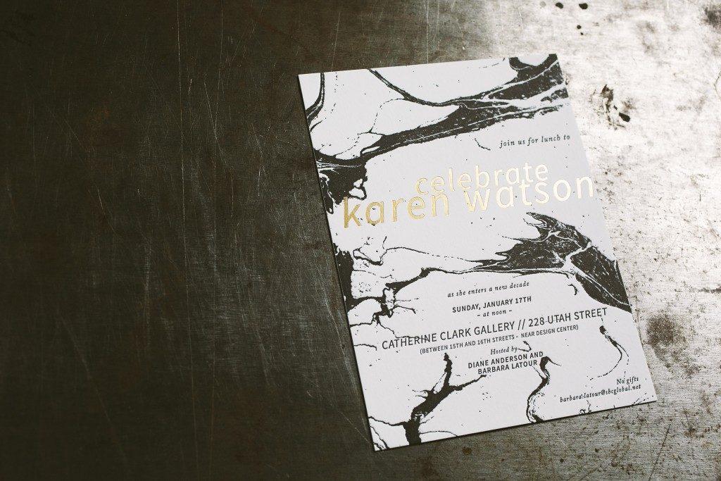 Letterpress Foil Stamped Marble Birthday Invitations Bella Figura