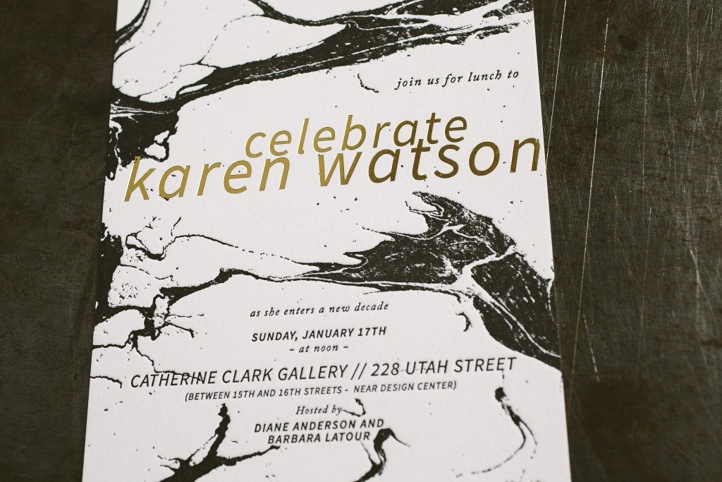 letterpress + foil stamped marble birthday invitations   Bella Figura