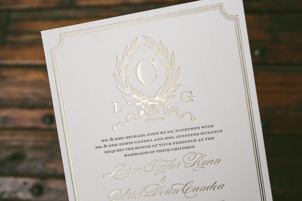 letterpress + foil stamped custom monogram wedding invitations | Bella Figura