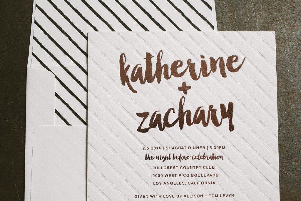 rose gold foil stamped Shabbat dinner invitations | Bella Figura