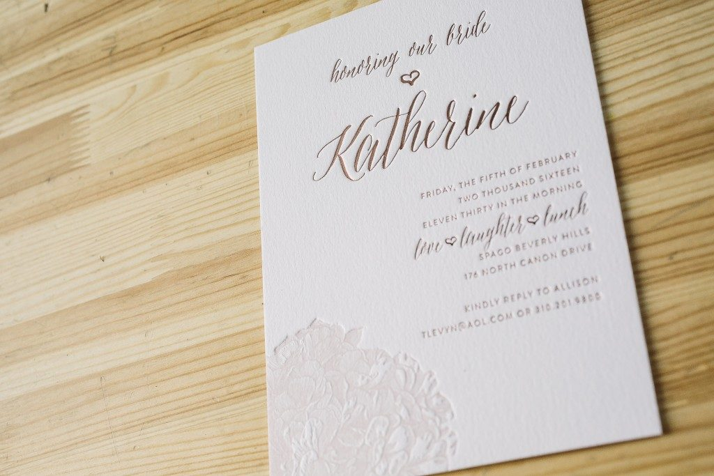 letterpress + foil stamped pink bridal luncheon invitations | Bella Figura