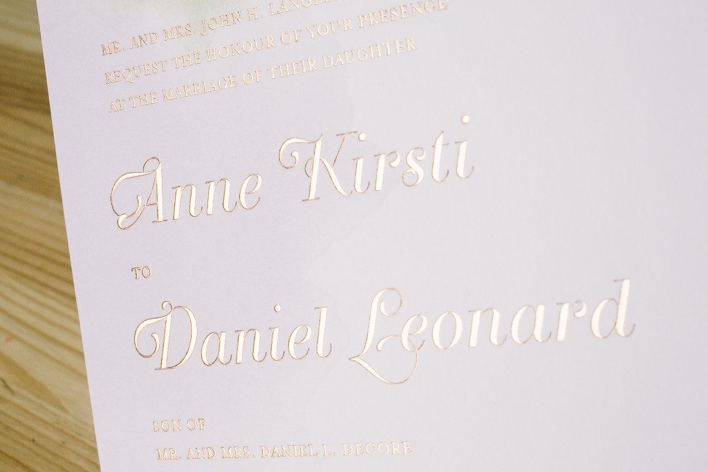 foil stamped watercolor wedding invitations | Bella Figura