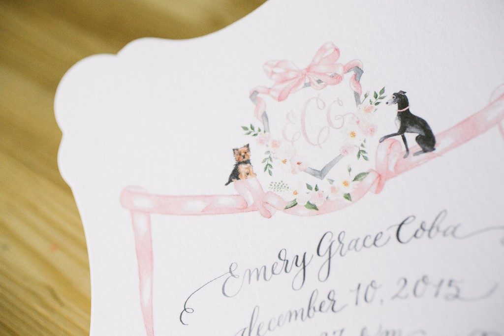 Illustrated birth announcements for baby girl | Bella Figura