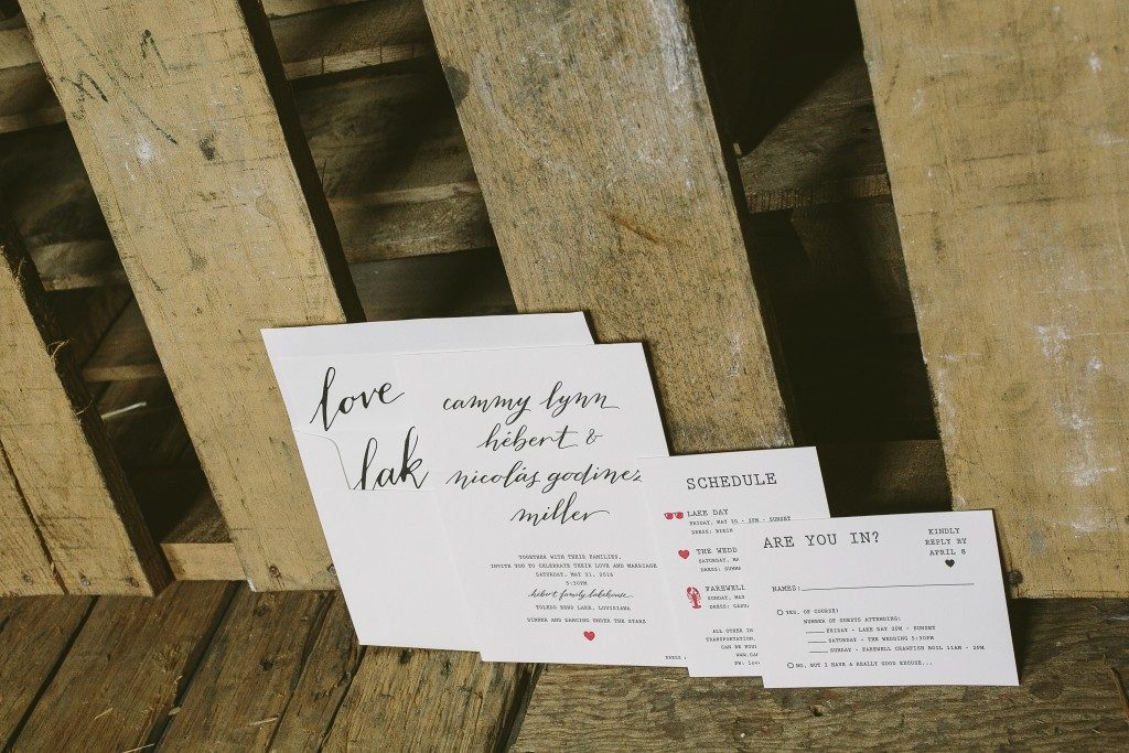 modern calligraphy wedding invitations for lake house wedding | Bella Figura