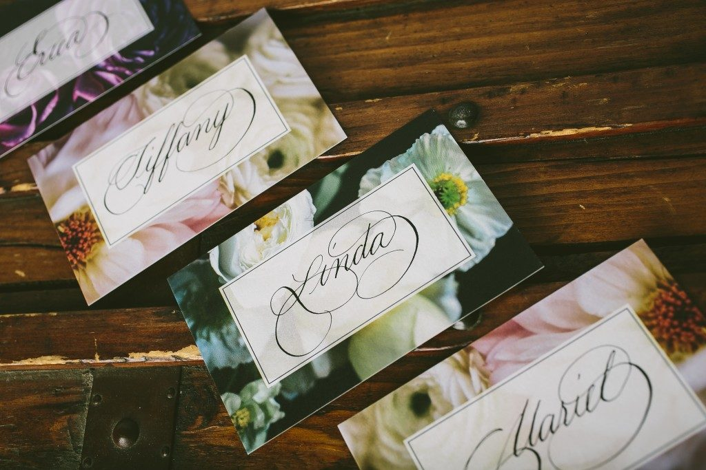 Calligraphy samples by Ted Clausen on Bella Figura's new Flora Collection