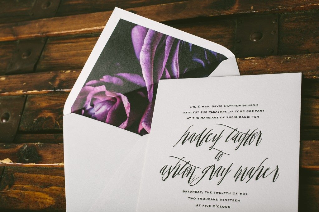 Hadley letterpress wedding invitations from Bella Figura paired with new Flora envelope liners