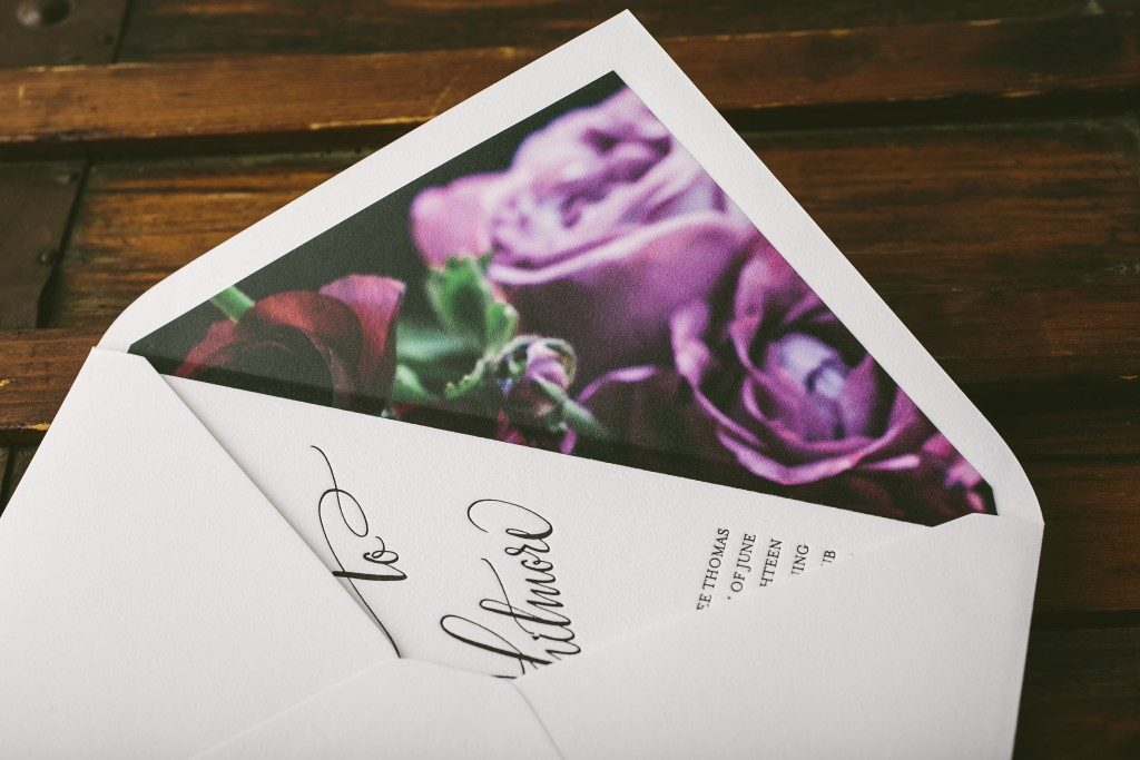 Belperron letterpress + calligraphy wedding invitations from Bella Figura paired with new Flora envelope liners