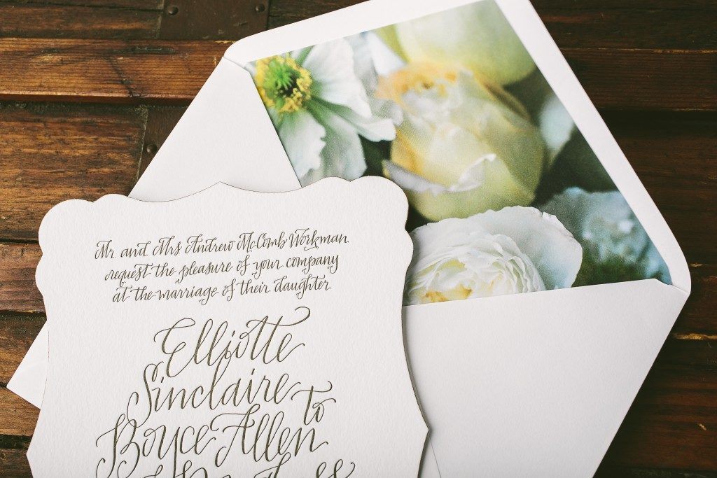 Elliott die-cut, letterpress + calligraphy wedding invitations from Bella Figura paired with new Flora envelope liners