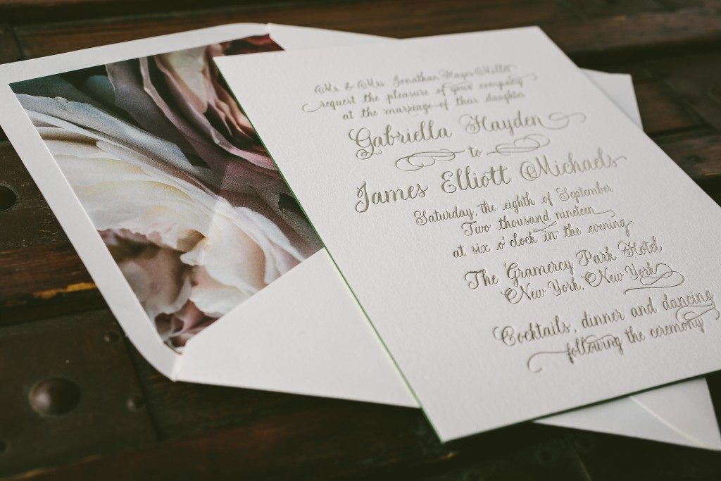 Leyton formal foil stamped wedding invitations from Bella Figura paired with Flora envelope liners