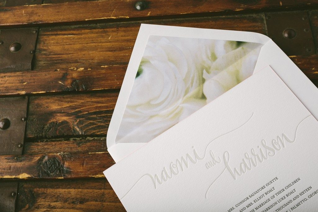 Colette letterpress + calligraphy wedding invitations from Bella Figura featuring new Flora print envelope liners