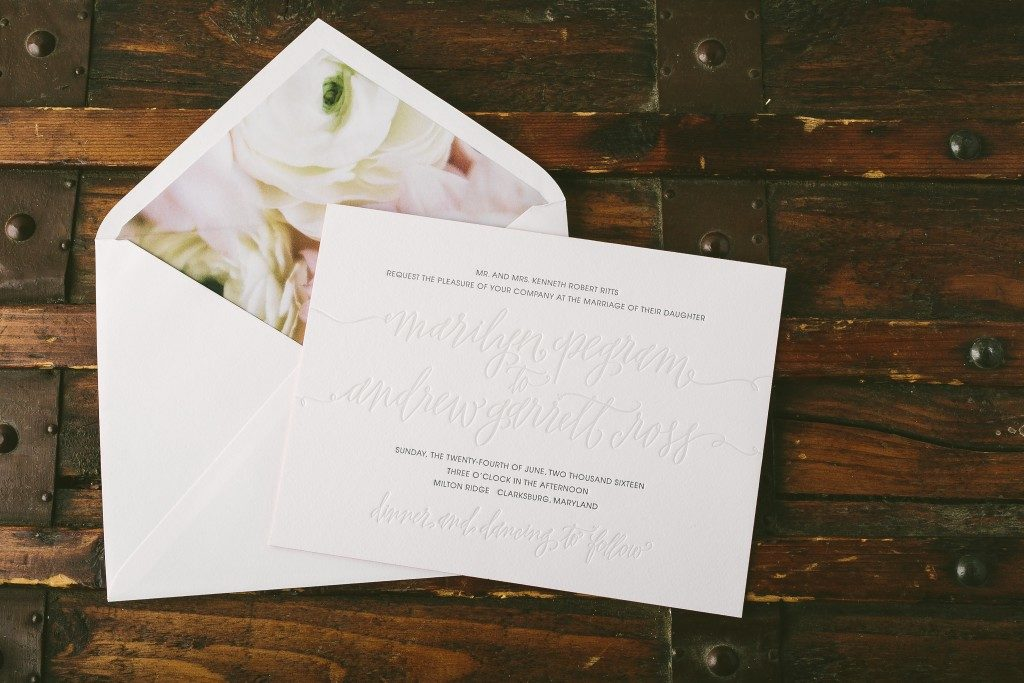 Madison Chic letterpress + calligraphy wedding invitations from Bella Figura paired with new Flora envelope liners