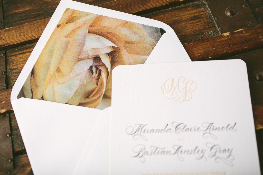Calligraphy monogram letterpress wedding invitations + Flora envelope liners from Bella Figura