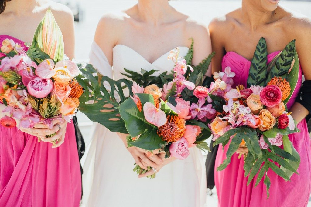 Vibrant hot pink + orange bouquets at the Big Fake Wedding NYC