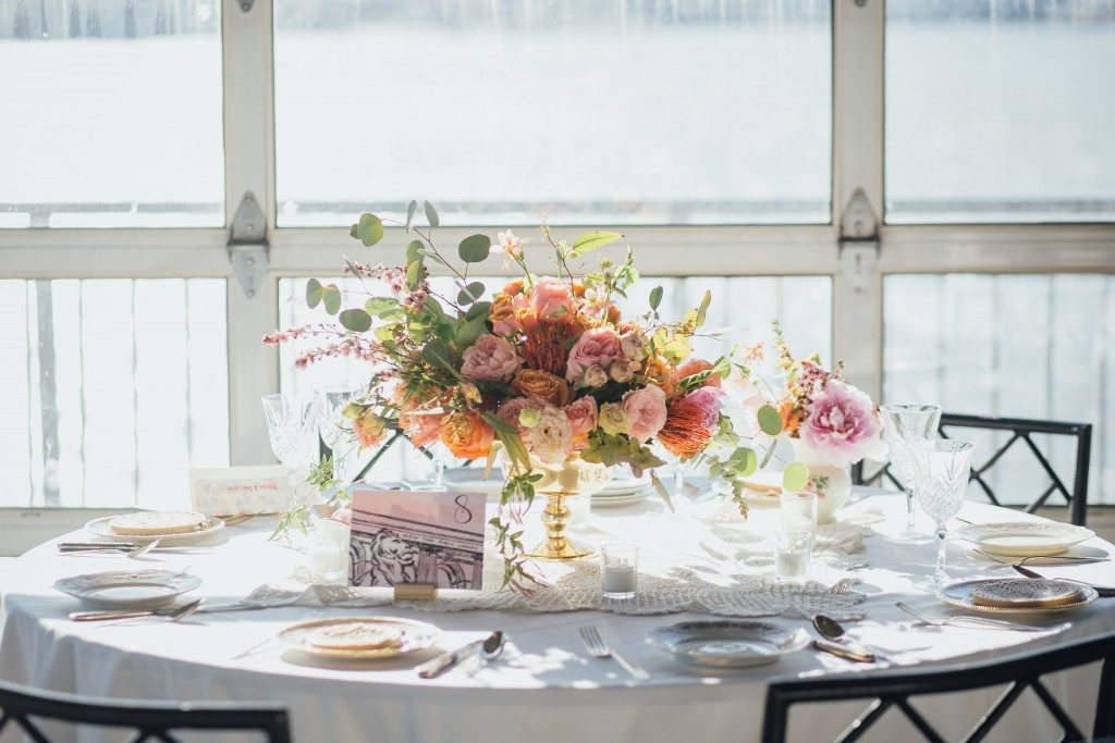 Floral centerpieces at the Big Fake Wedding NYC