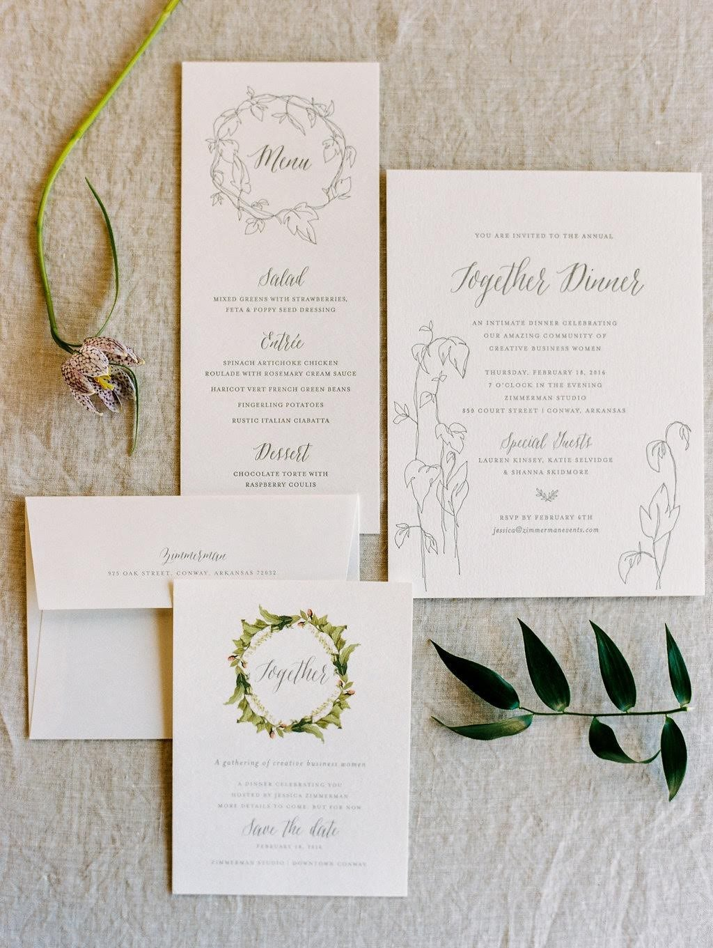 Letterpress invitations and menus from Bella Figura