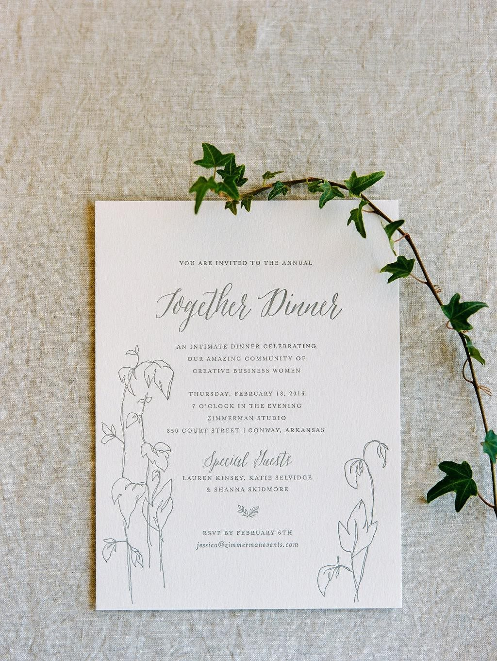 Letterpress menus from Bella Figura