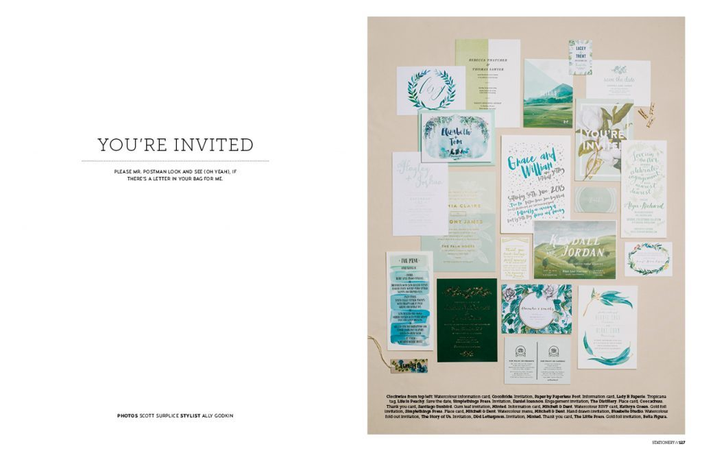 Bella Figura's Lark invitations by Jessica Tierney were featured in issue 13 of Hello May Magazine