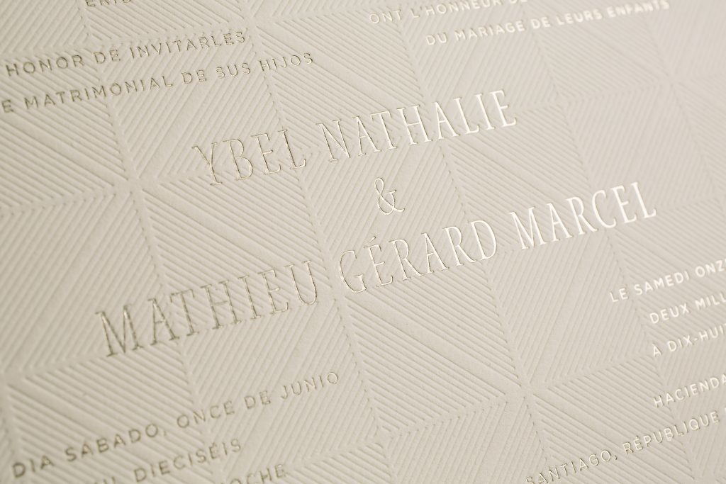 Letterpress + foil bilingual wedding invitations | Bella Figura