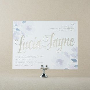 Blossom mitzvah invitations from Bella Figura
