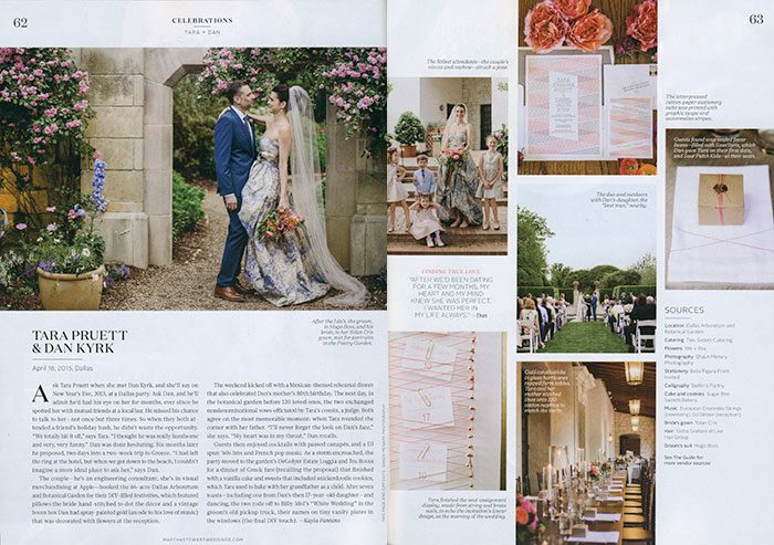 Bella Figura's Anais letterpress wedding invitations were featured in this real wedding in the summer 2016 issue of Martha Stewart Weddings