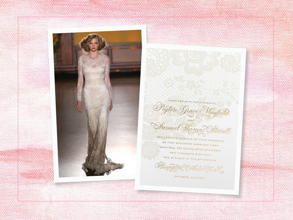 Reticella wedding invitations from Bella Figura featured by The Knot