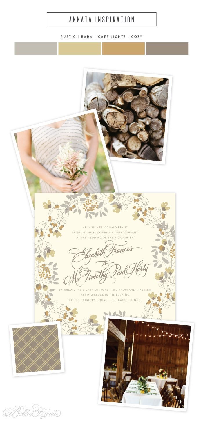 floral wreath wedding invitation by Bella Figura