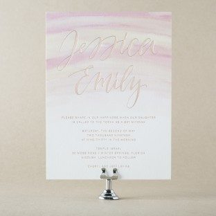 Blush mitzvah invitations from Bella Figura