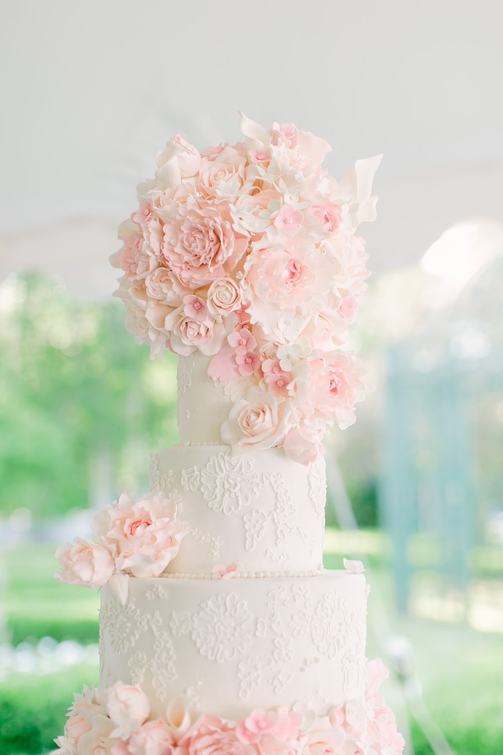 pale pink floral wedding cake