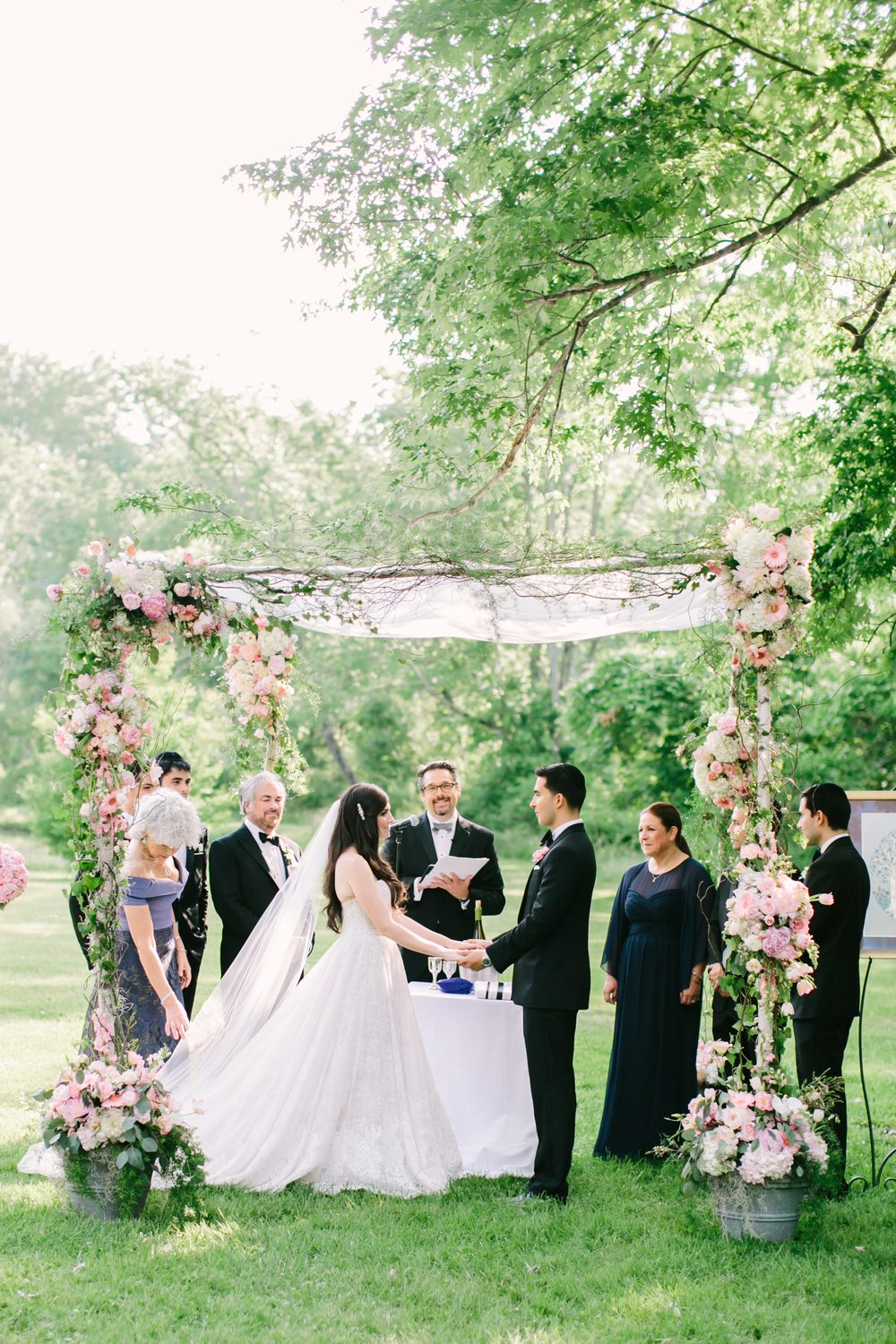 Outdoor wedding ceremony chuppah at the Inn at Barley Sheaf Farm