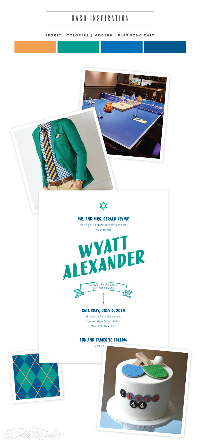 Preppy Bar Mitzvah invitation inspiration from Bella Figura