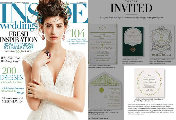 Bella Figura featured in Inside Weddings magazine summer 2016