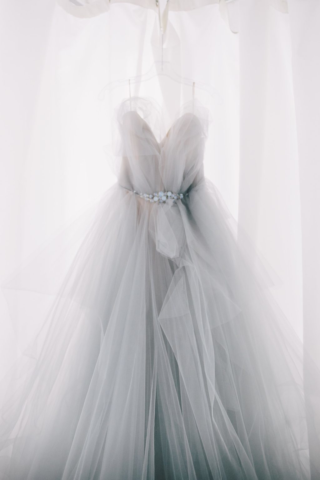 Serenity color of the year inspired wedding dress