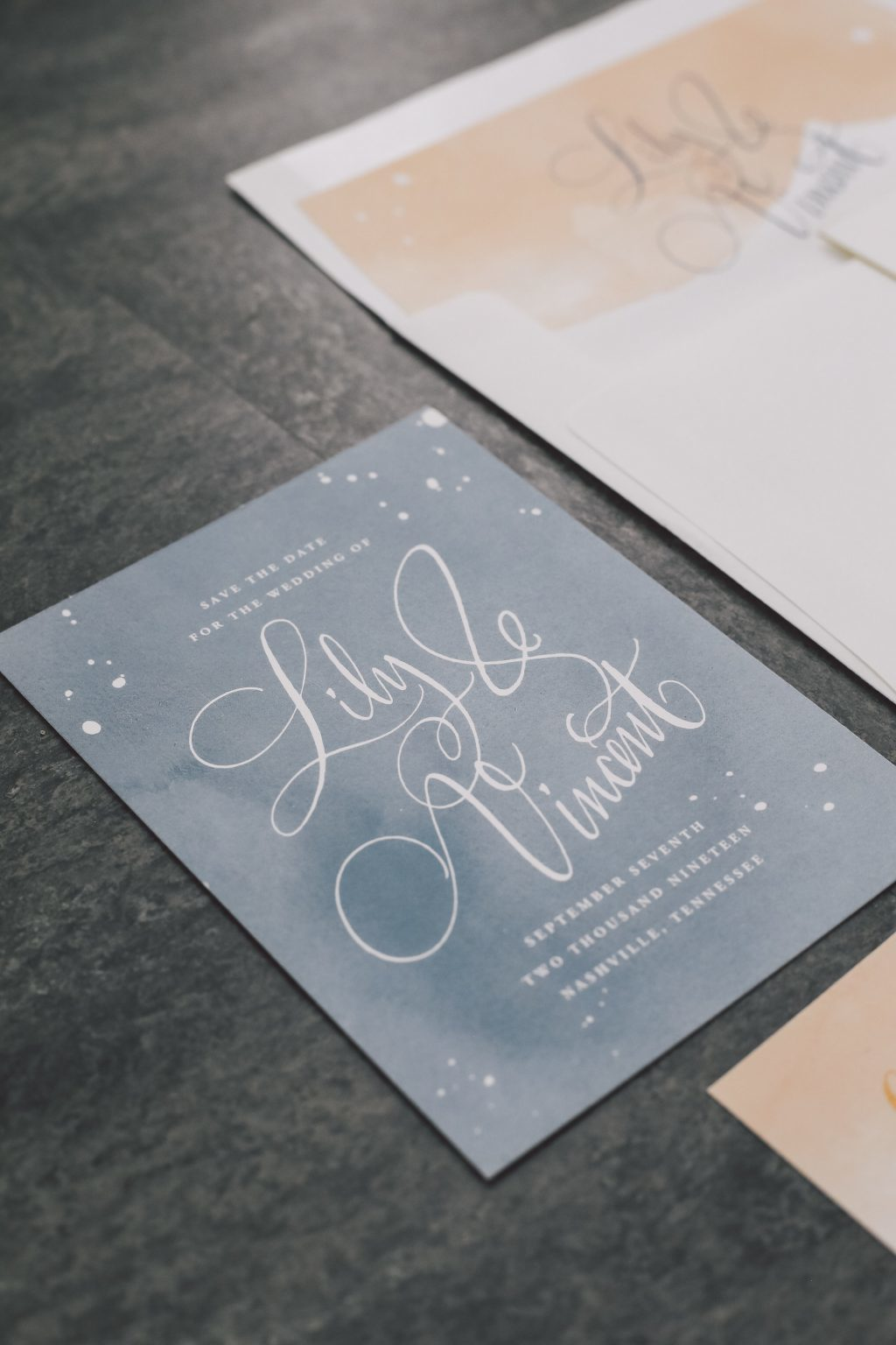 Vincent save the dates from Bella Figura featured on Style Me Pretty