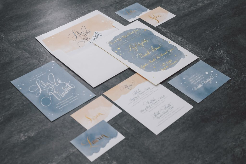 Vincent calligraphy wedding invitations from Bella Figura featured on Style Me Pretty