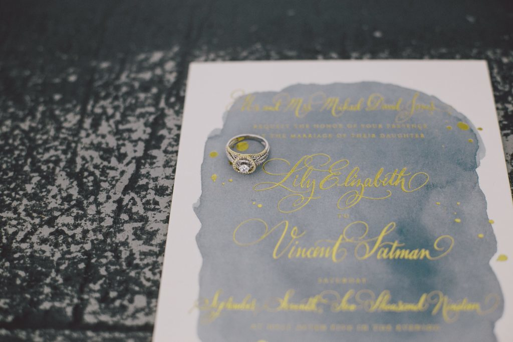 Vincent wedding invitations from Bella Figura featured on Style Me Pretty