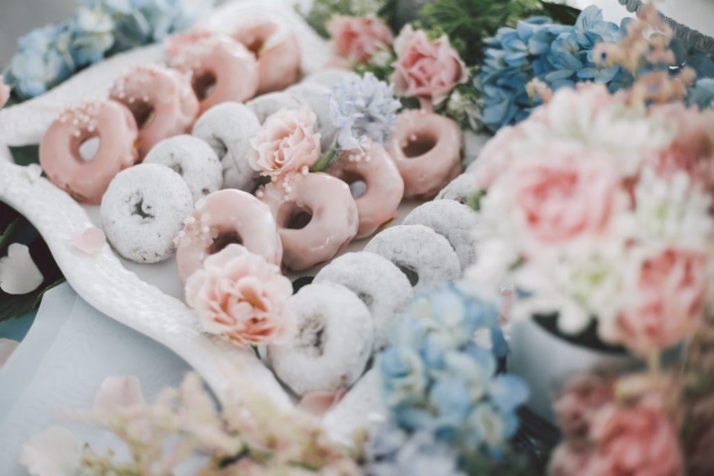 Rose quartz + serenity inspired desserts table
