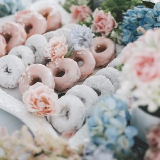 Rose quartz + serenity inspired desserts table