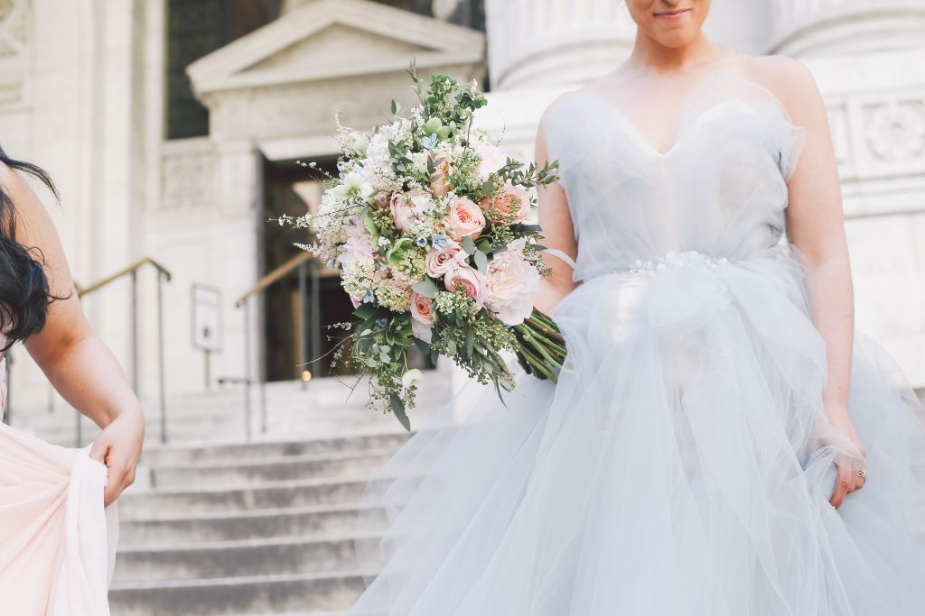 Pale blue wedding gown | New York Public Library wedding inspiration