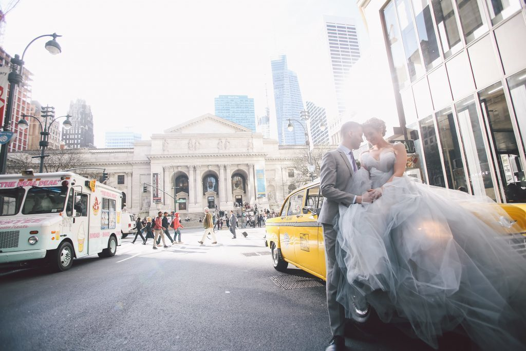 NYC wedding inspiration shoot in front on the iconic New York Public Library