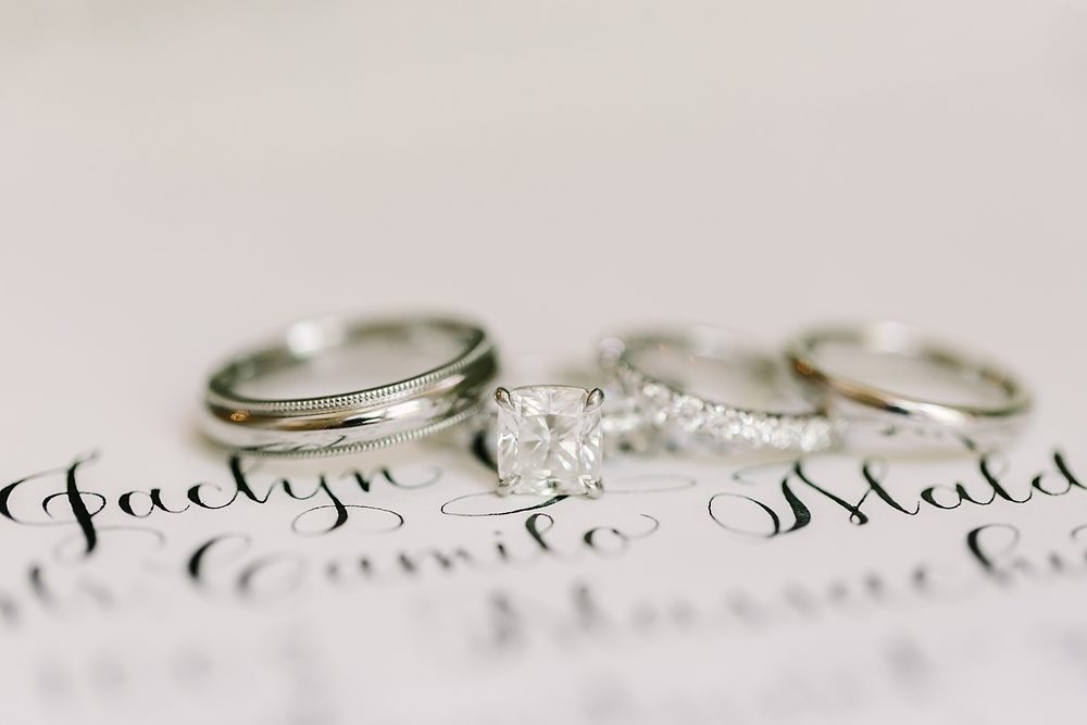 Wedding & engagement rings with calligraphy wedding invitations from Bella Figura