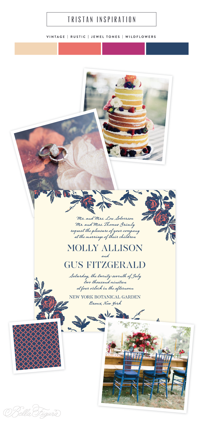 Rustic floral wedding invitation inspiration from Bella Figura