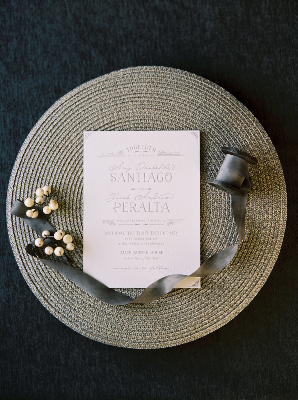 Gardenia letterpress wedding invitations by Andrea Streeter for Bella Figura